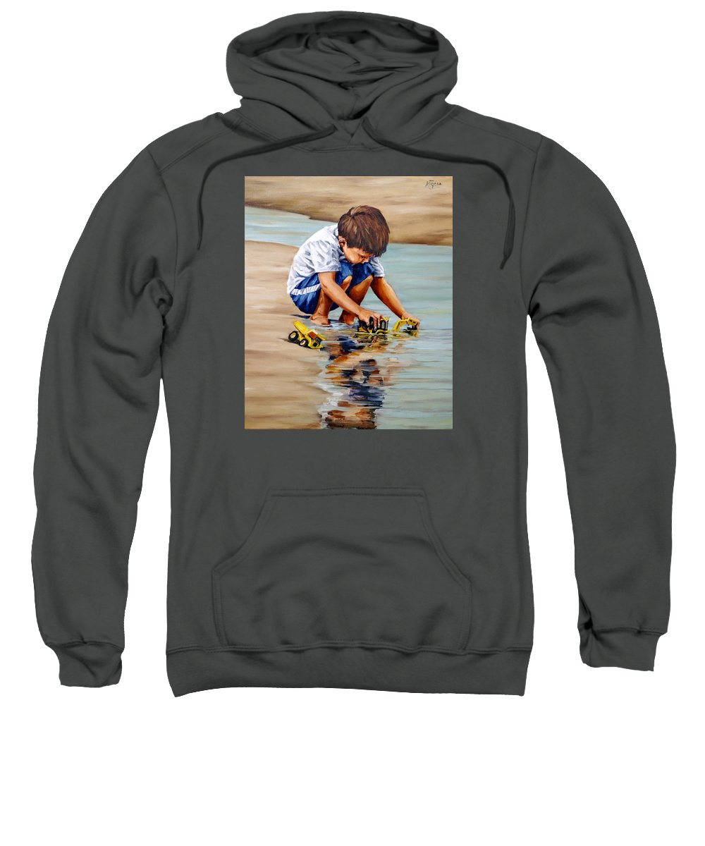 Child Sweatshirt featuring the painting Little Guy Playing by Natalia Tejera