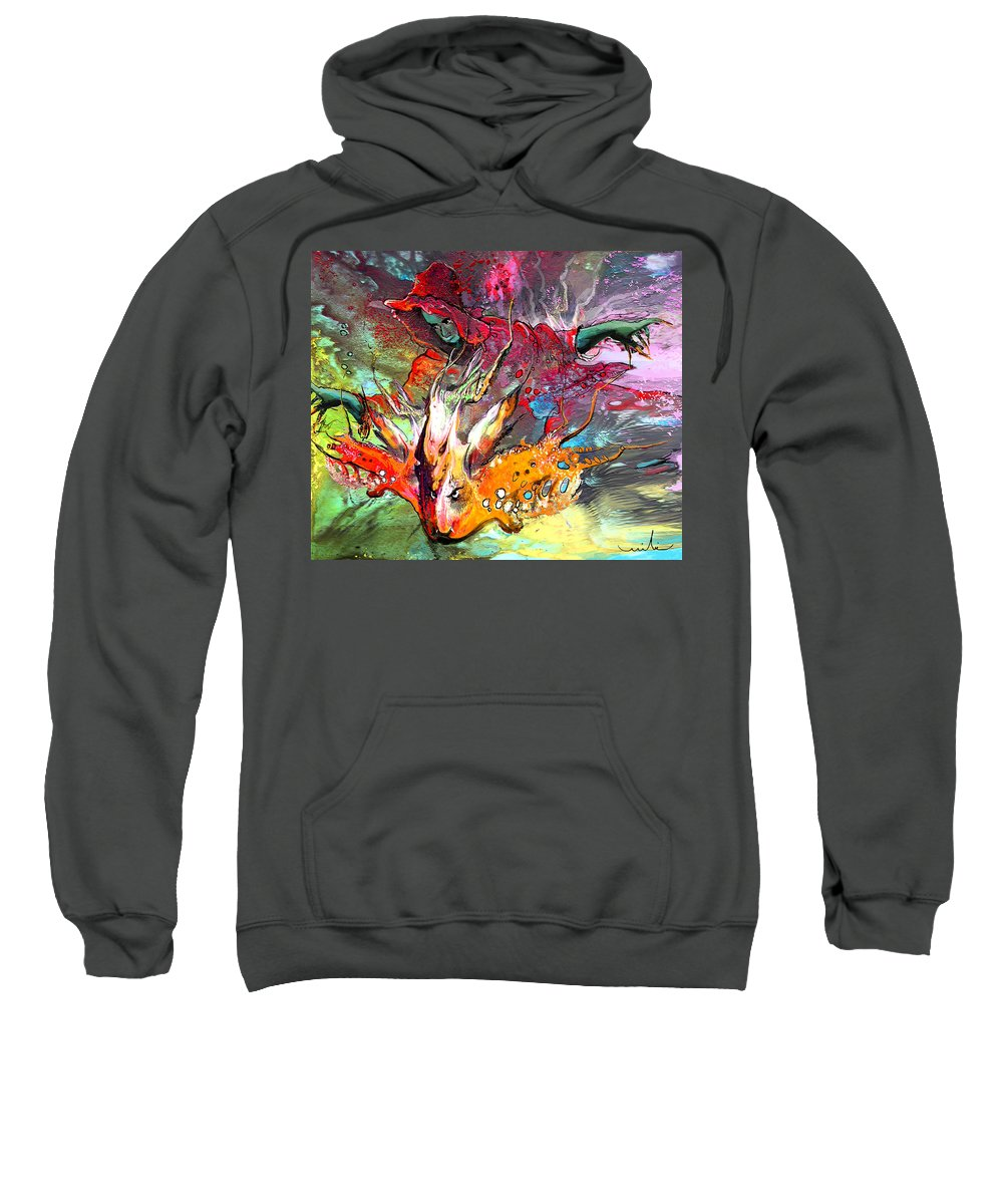 Miki Sweatshirt featuring the painting Little Red Dragonmaker by Miki De Goodaboom