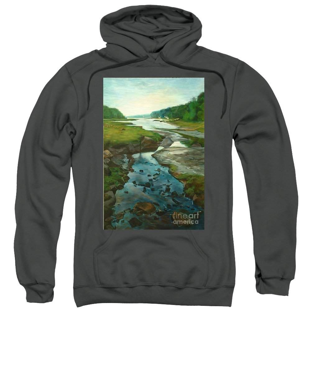 River Sweatshirt featuring the painting Little River Gloucester by Claire Gagnon