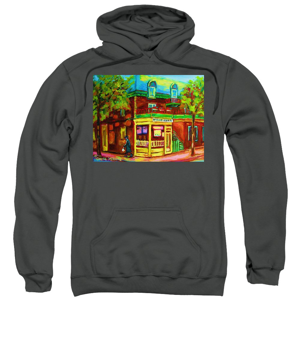 Montreal Streetscenes Sweatshirt featuring the painting Little Shop On The Corner by Carole Spandau