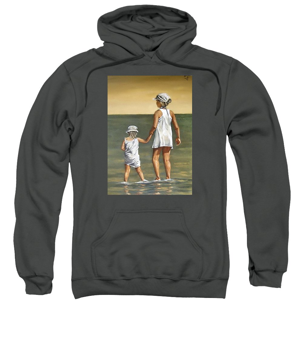 Little Girl Reflection Girls Kids Figurative Water Sea Seascape Children Portrait Sweatshirt featuring the painting Little Sisters by Natalia Tejera