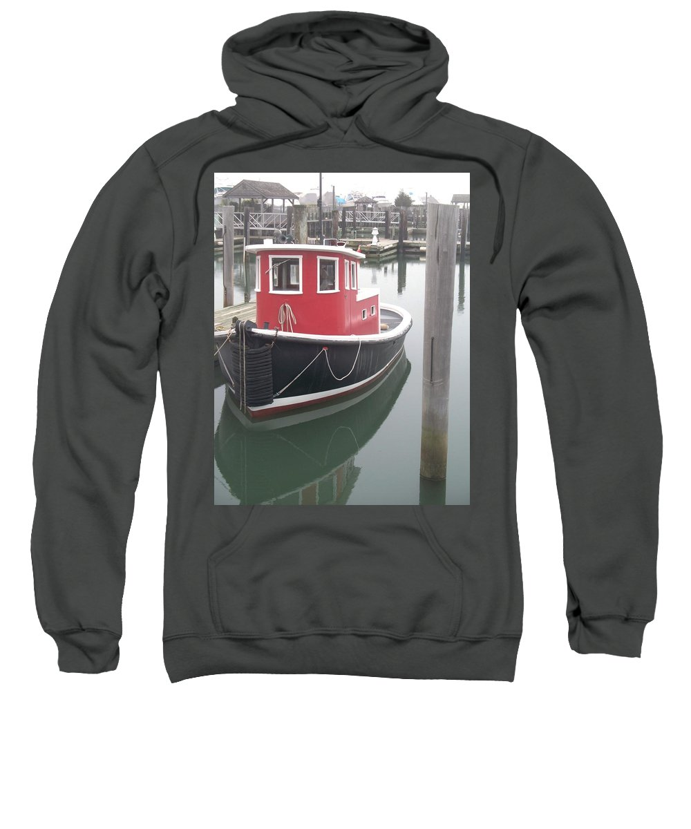 Tugboat Sweatshirt featuring the painting Little Tug by Eric Schiabor