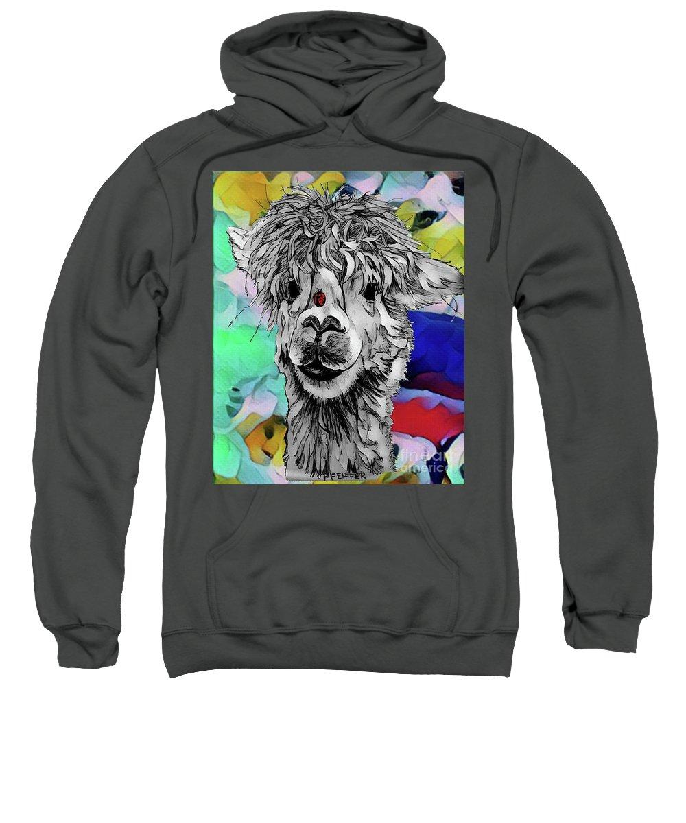 Llama Sweatshirt featuring the digital art Llama And Lady In Splash by Lisa Pfeiffer