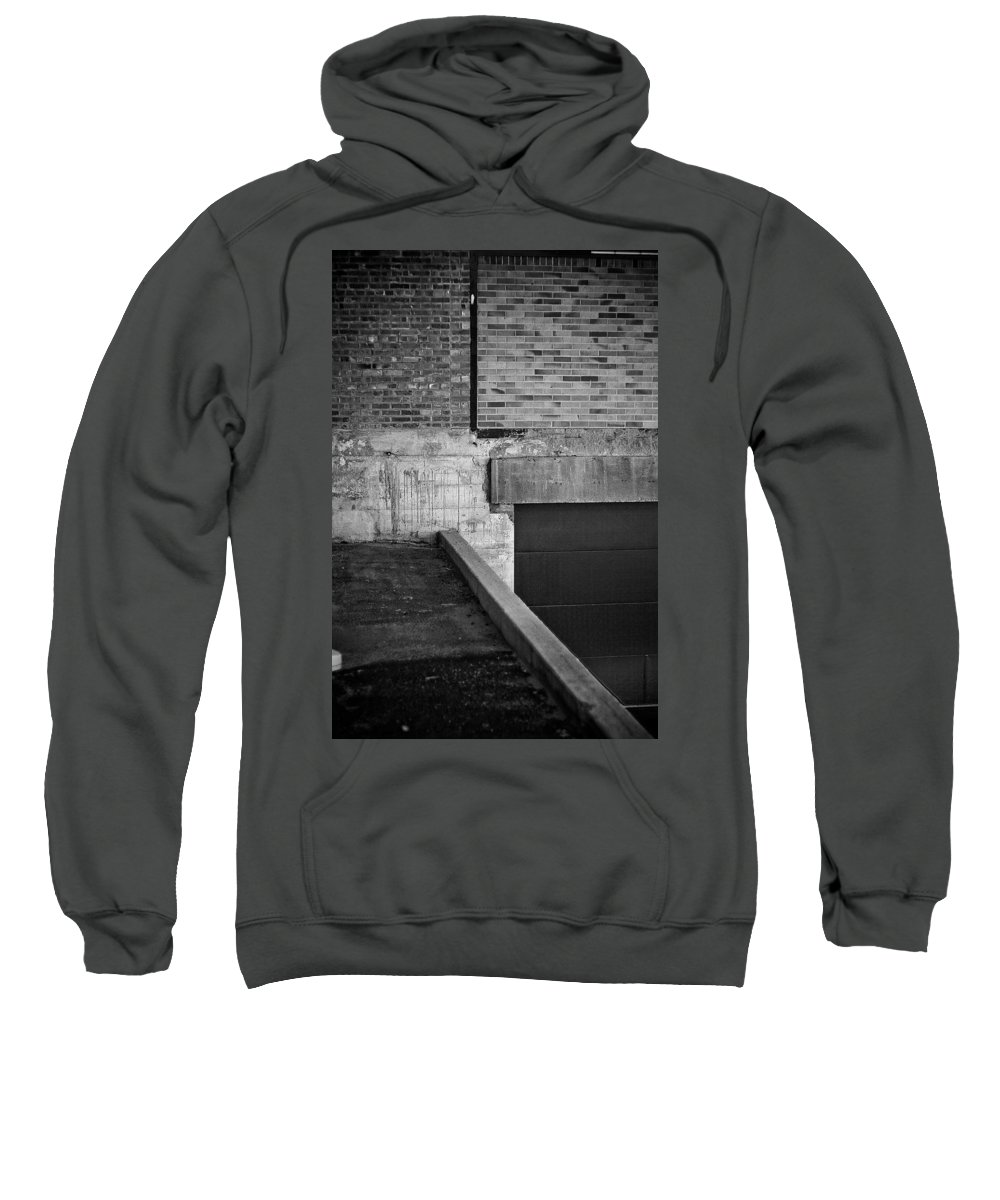 Black And White Photograph Sweatshirt featuring the photograph Load Ing Dock by Mike Oistad