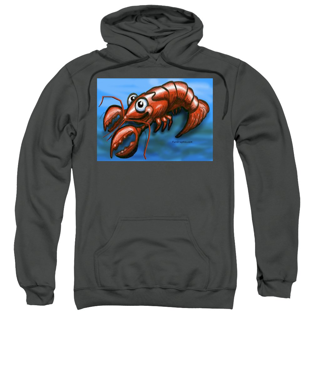 Lobster Sweatshirt featuring the greeting card Lobster by Kevin Middleton