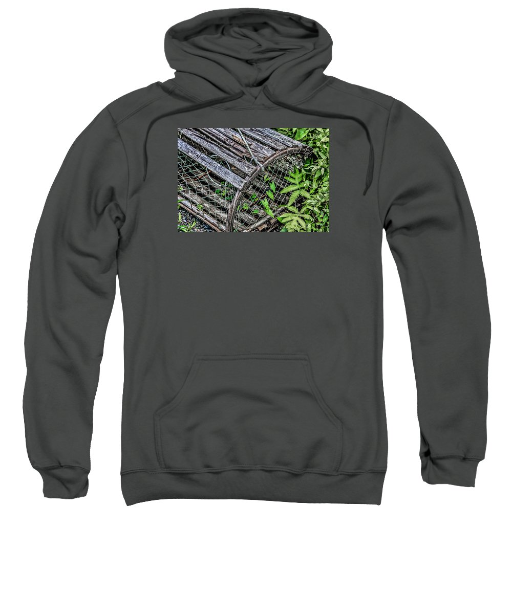 Black Brook Shop Sweatshirt featuring the photograph Lobster Trap by Black Brook Photography