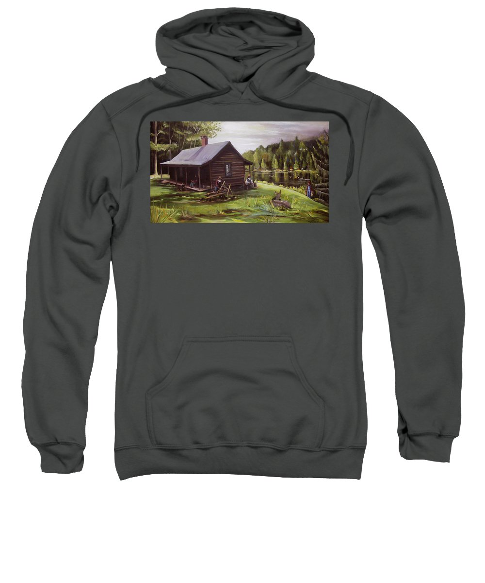Log Cabin Sweatshirt featuring the painting Log Cabin By The Lake by Nancy Griswold