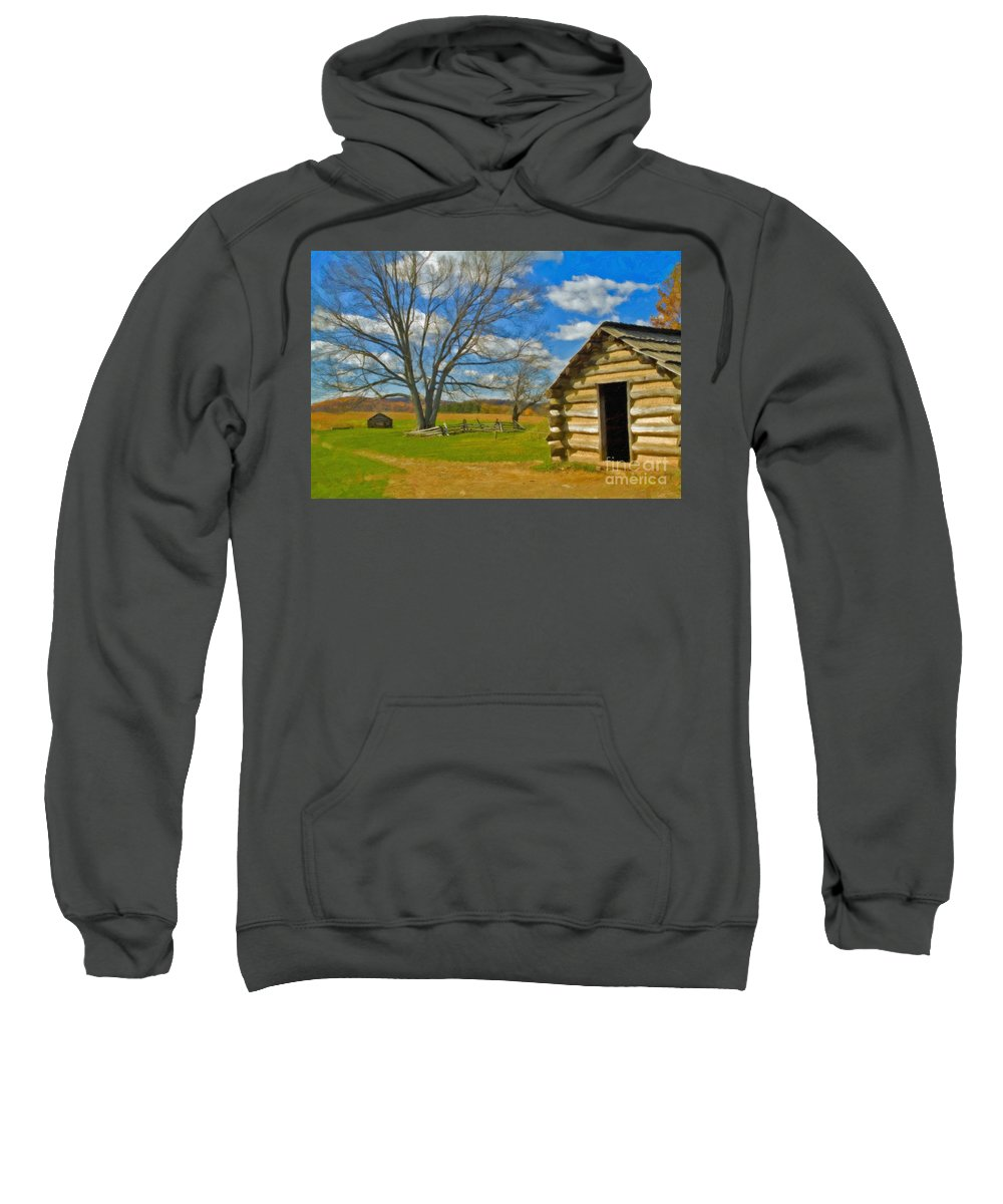 Valley Forge Sweatshirt featuring the photograph Log Cabin Valley Forge Pa by David Zanzinger