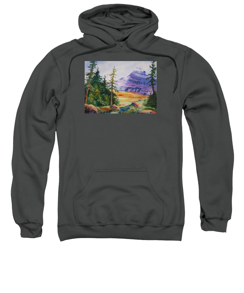 Landscape Sweatshirt featuring the painting Logan Pass by Karen Stark