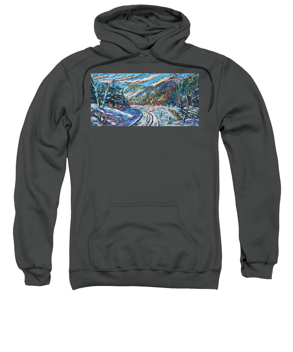 Loggers Sweatshirt featuring the painting Loggers Road by Richard T Pranke