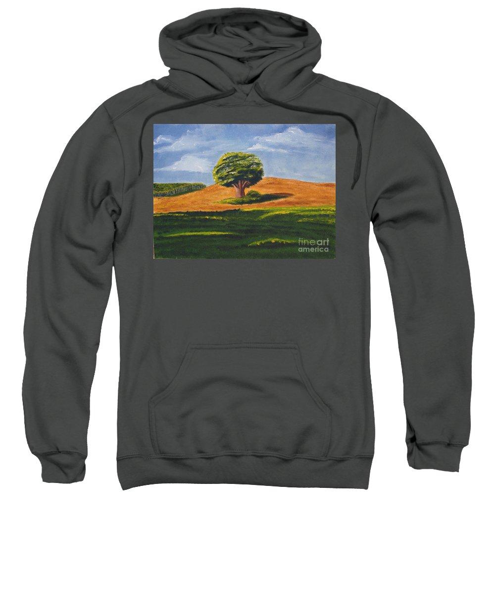 Tree Sweatshirt featuring the painting Lone Tree by Mendy Pedersen