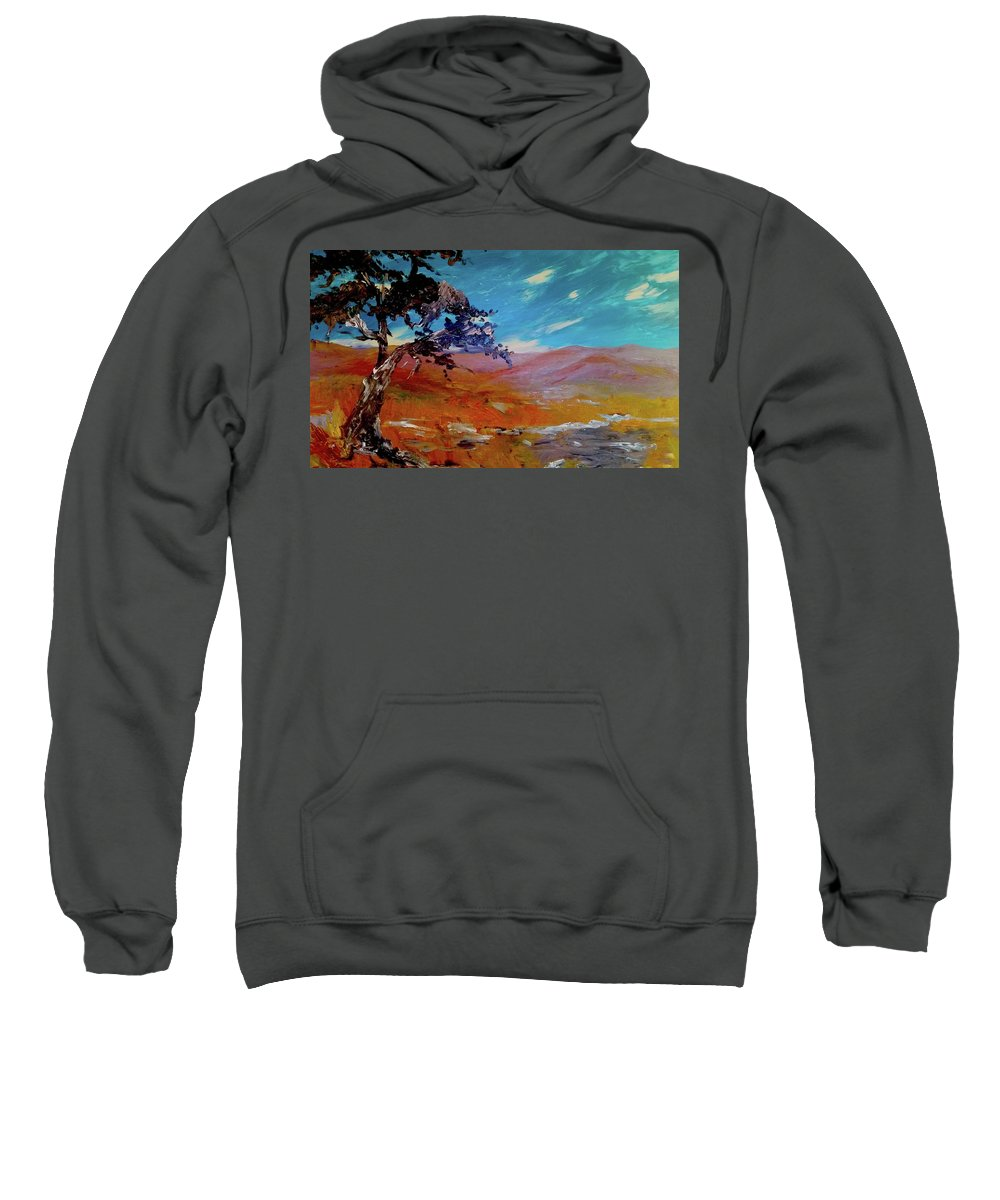 Desert Sweatshirt featuring the painting Lone Tree by Rebecca Duckworth