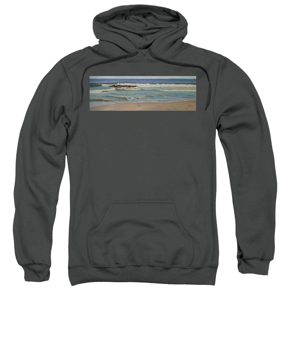 Seascape Sweatshirt featuring the painting Lone Watcher by Lea Novak
