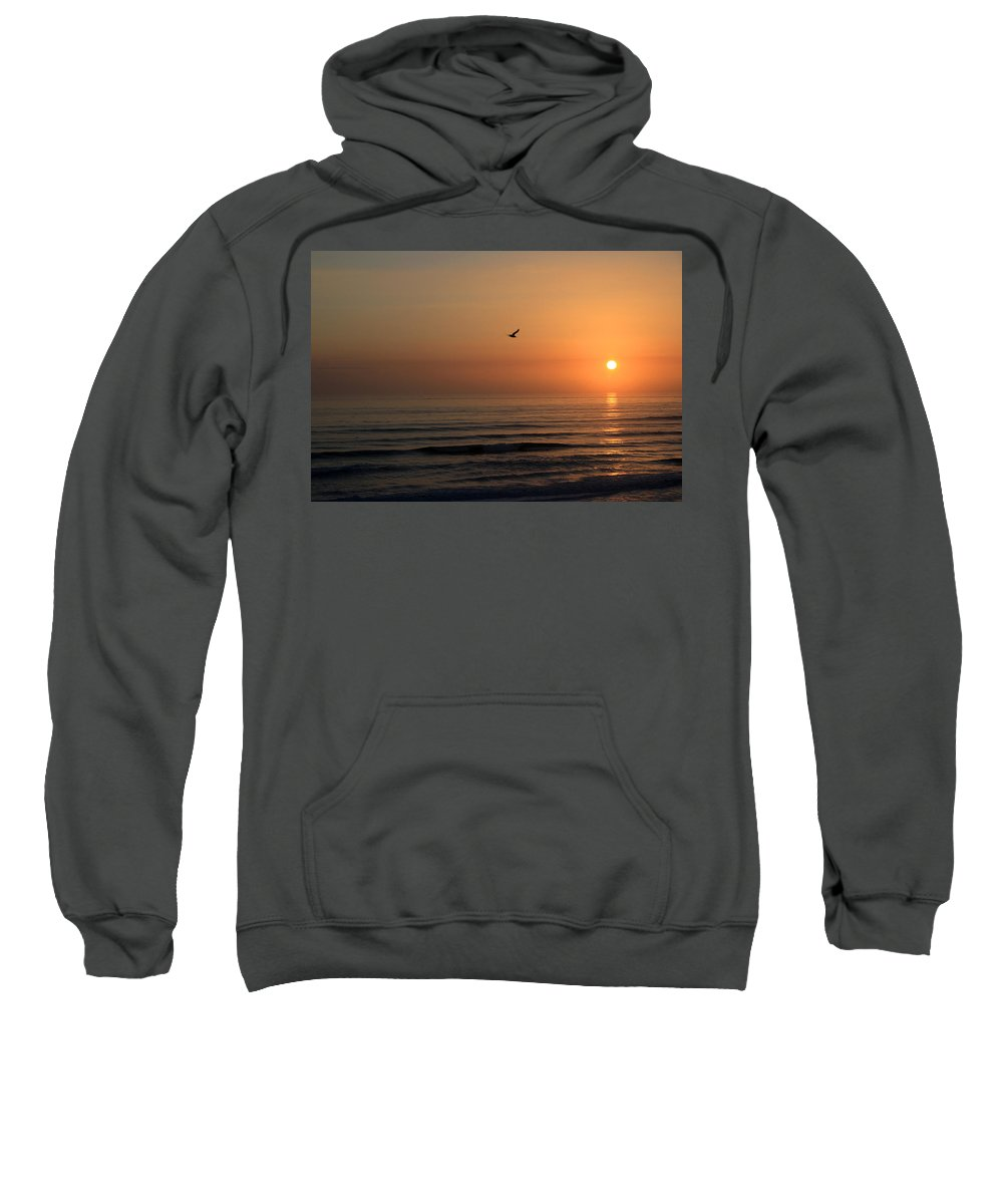 Bird Fly Flight Gull Alone Sun Sunrise Sky Ocean Wave Reflection Nature Golden Gold Sweatshirt featuring the photograph Lonely Flight by Andrei Shliakhau