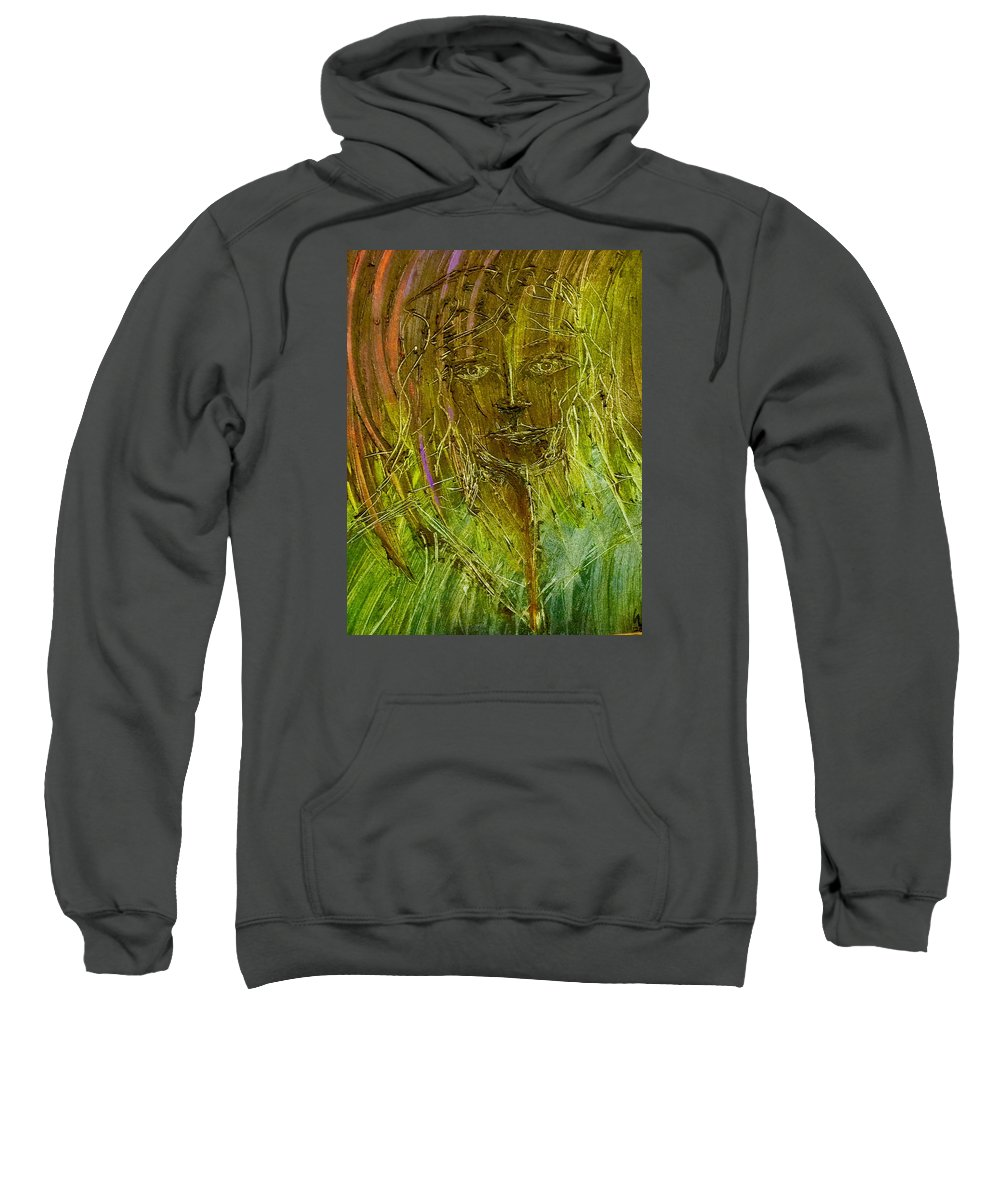 Lady Sweatshirt featuring the painting Lonely Lady by Brad Mullins