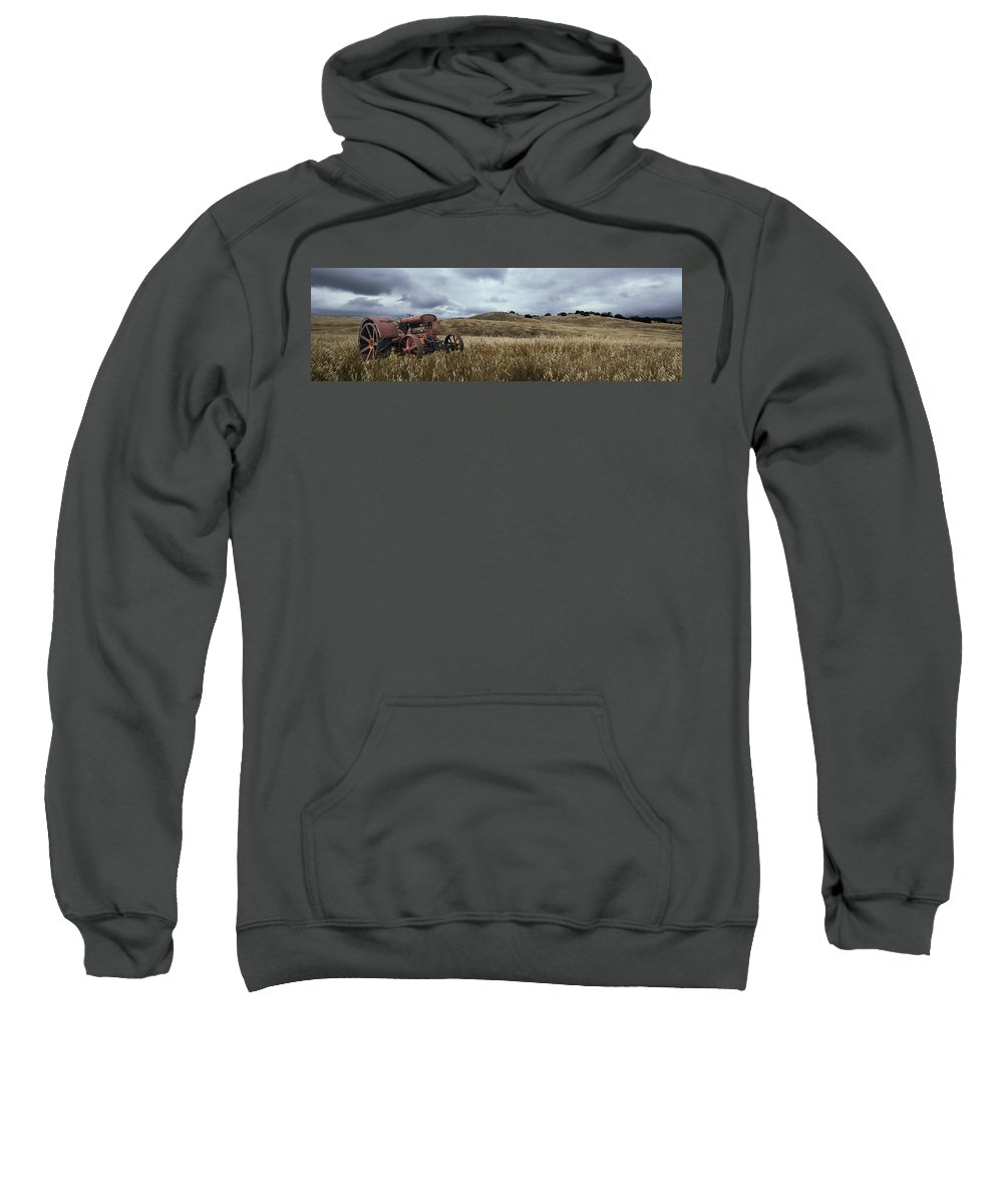 Tractor Sweatshirt featuring the photograph Lonely Tractor Panorama by Thomas Morris