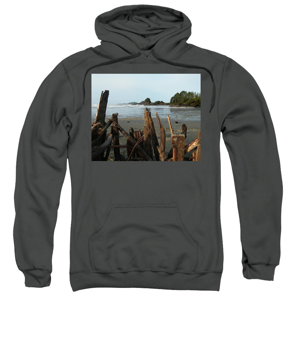 Wood Sweatshirt featuring the photograph Long Beach, Tofino by Sheryl R Smith