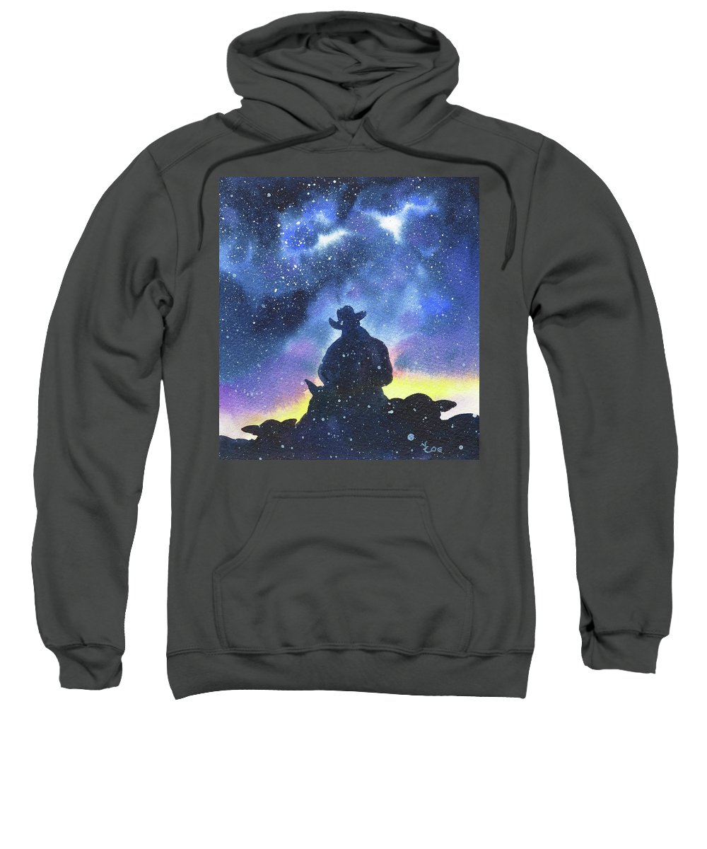Horse Sweatshirt featuring the painting Long Days End by Valerie Coe