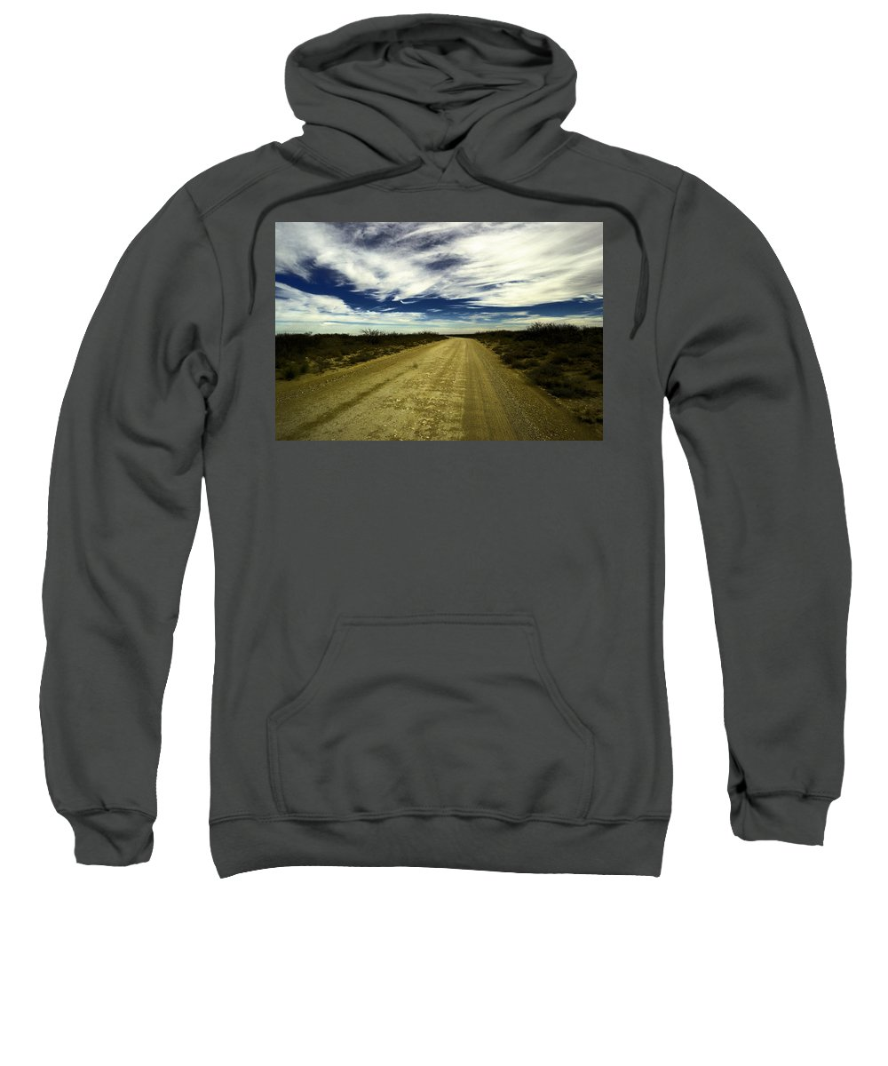 New Mexico Sweatshirt featuring the photograph Long Dusty Road In Jal New Mexico by Jeff Swan