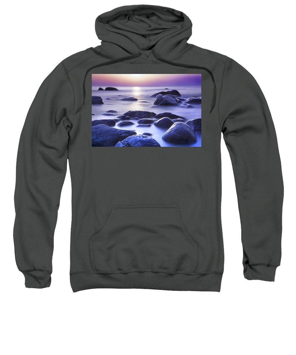 Background Sweatshirt featuring the photograph Long Exposure Sea And Rocks In Estonia Baltic Sea by Sandra Rugina