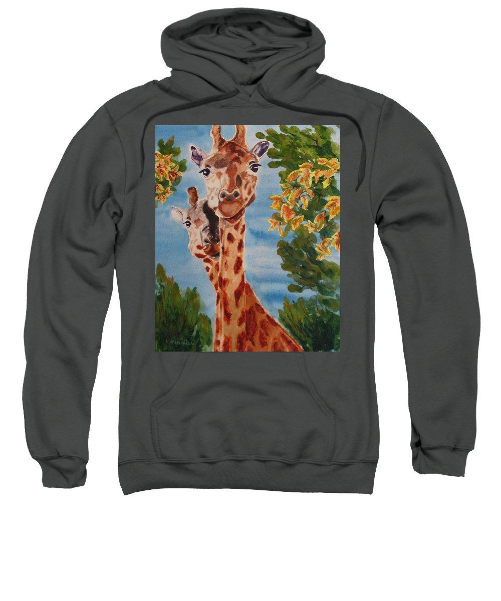 Giraffes Sweatshirt featuring the painting Lookin Back by Karen Ilari