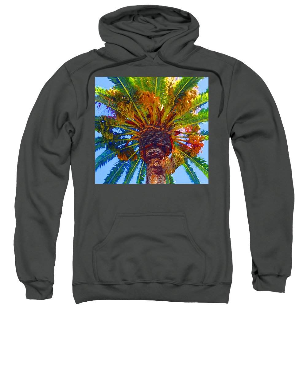 Garden Sweatshirt featuring the painting Looking Up At Palm Tree by Amy Vangsgard
