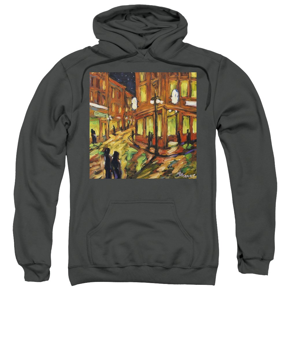 Town Sweatshirt featuring the painting Looking Up Main Street by Richard T Pranke