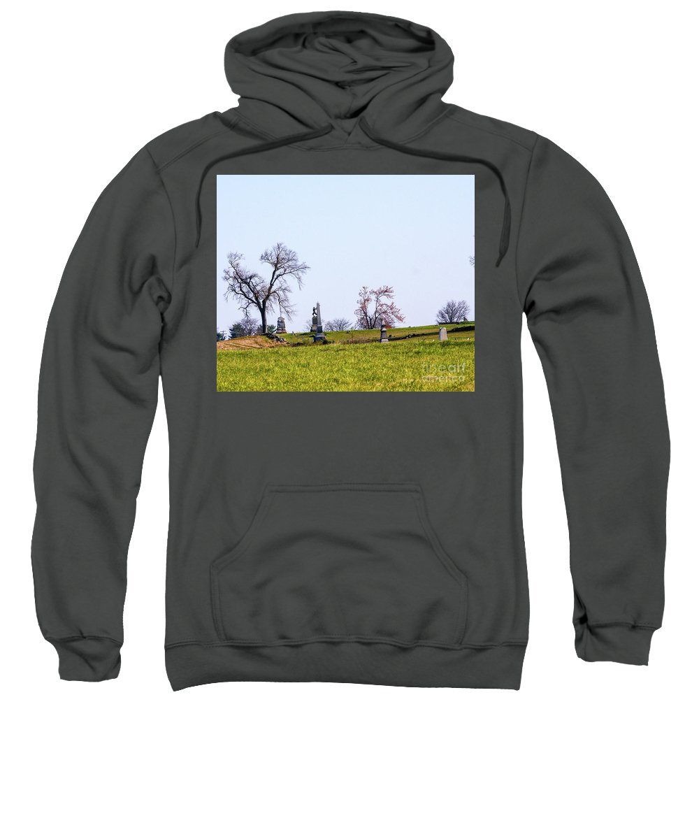 This Is A Photo Of The Federal Line At Gettysburg Battlefield Sweatshirt featuring the photograph Looking Up The Union Line by William Rogers