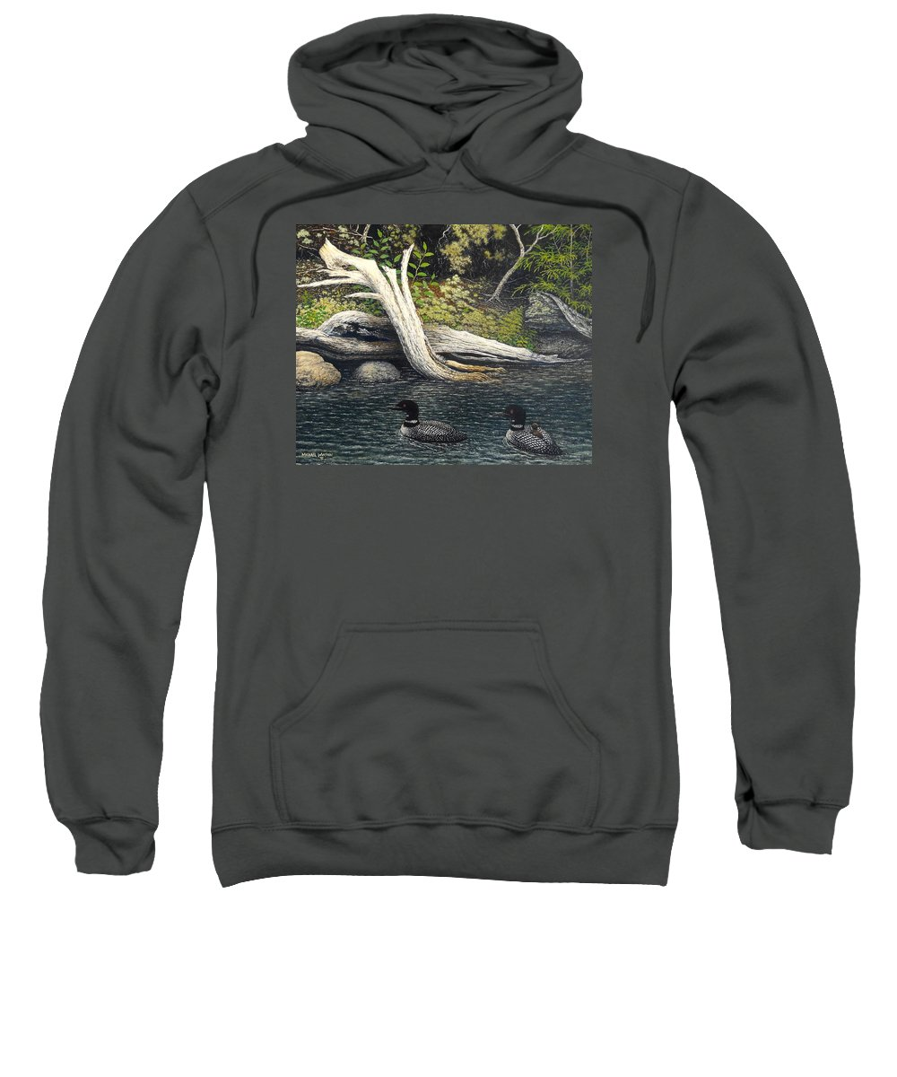 Loons Sweatshirt featuring the painting Loons On Saranac Lake by Michael Winston