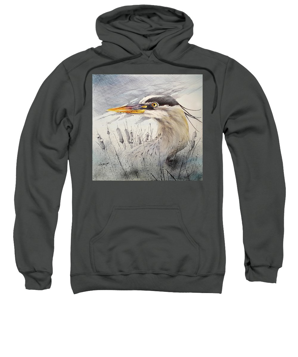 Art Sweatshirt featuring the mixed media Lord Of The Marsh by Eric Dull