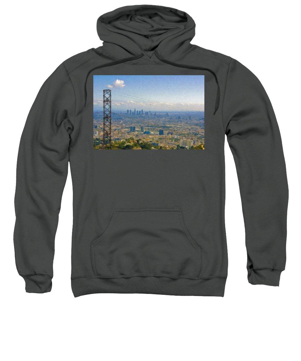 Los Angeles Sweatshirt featuring the photograph Los Angeles Skyline Between Power Lines by David Zanzinger