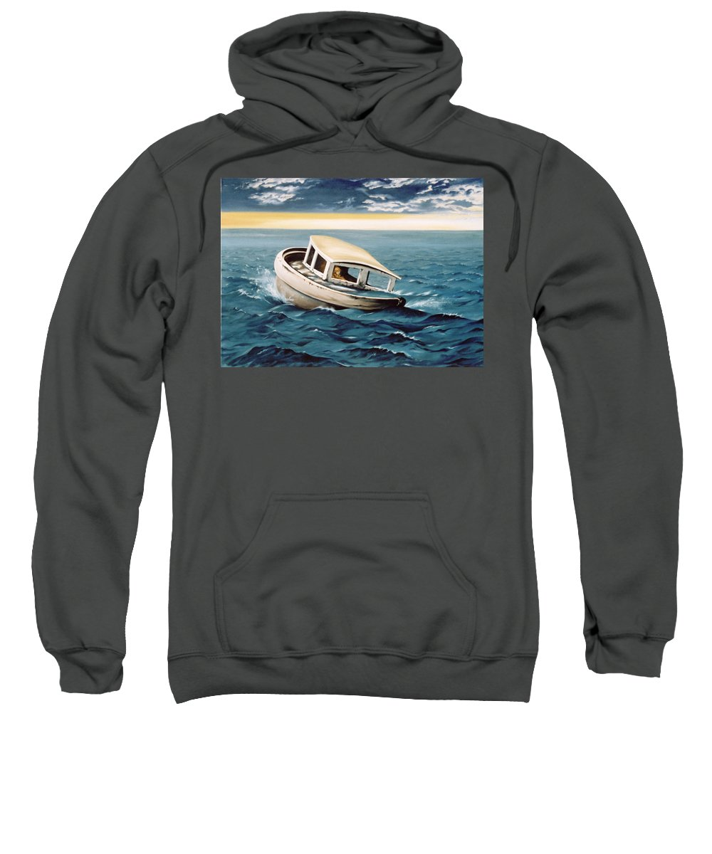 Seascape Sweatshirt featuring the painting Lost At Sea by Mark Cawood