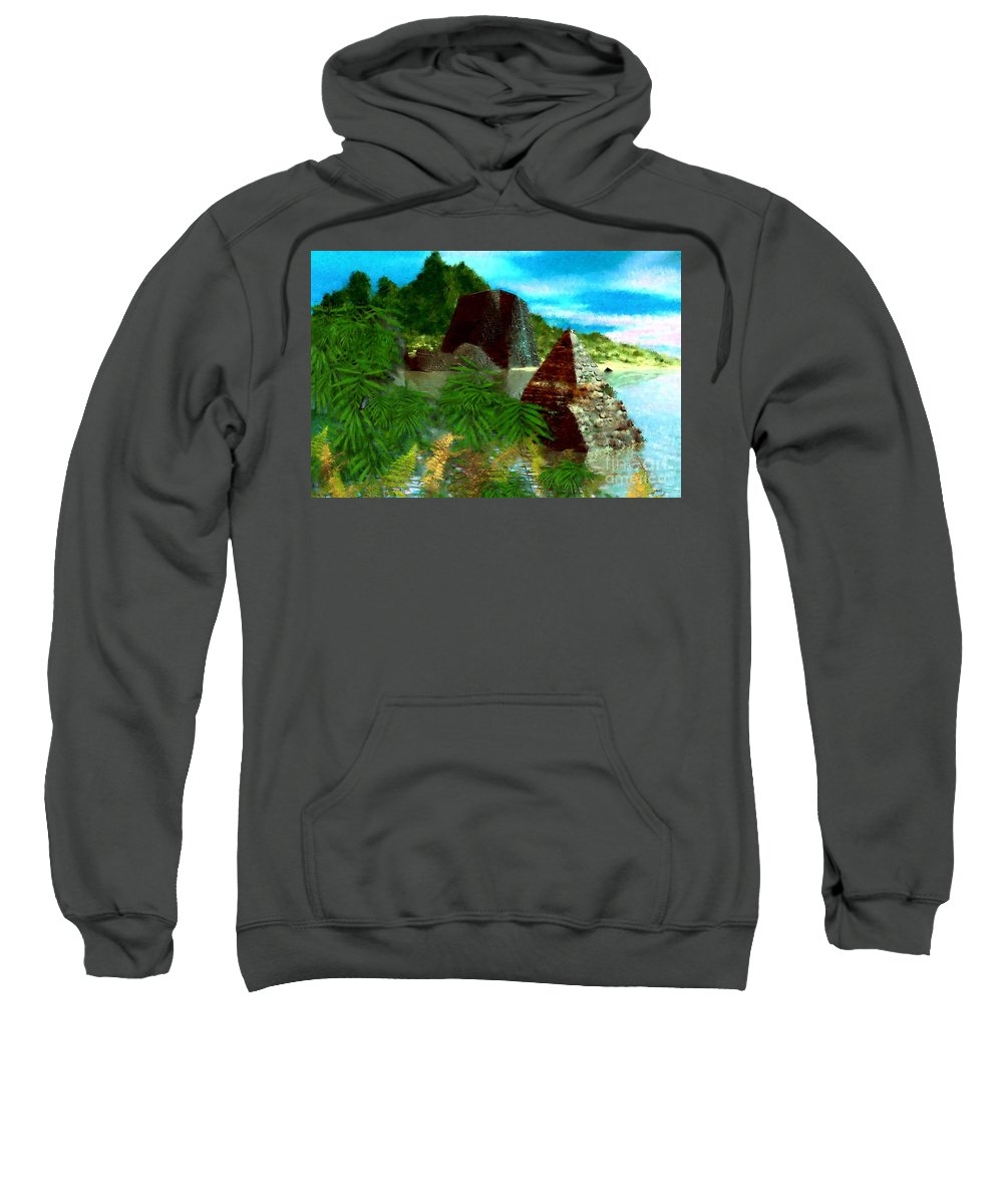 Digital Fantasy Painting Sweatshirt featuring the digital art Lost City by David Lane