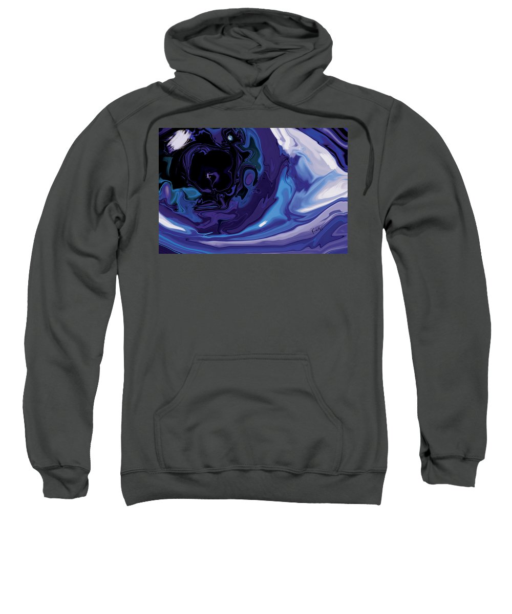 Blue Sweatshirt featuring the digital art Lost-in-to-the-eye by Rabi Khan