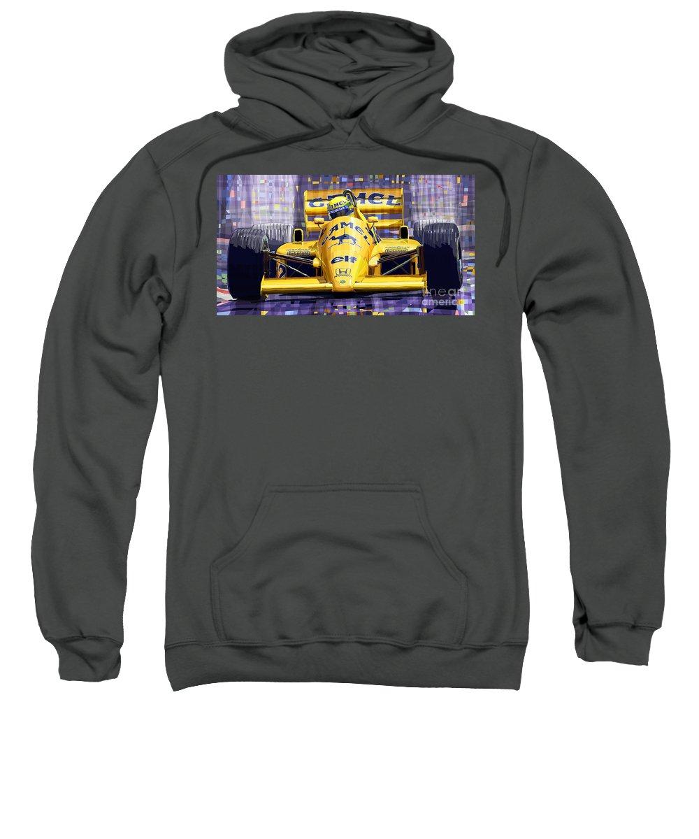 Automotive Sweatshirt featuring the digital art Lotus 99t Spa 1987 Ayrton Senna by Yuriy Shevchuk