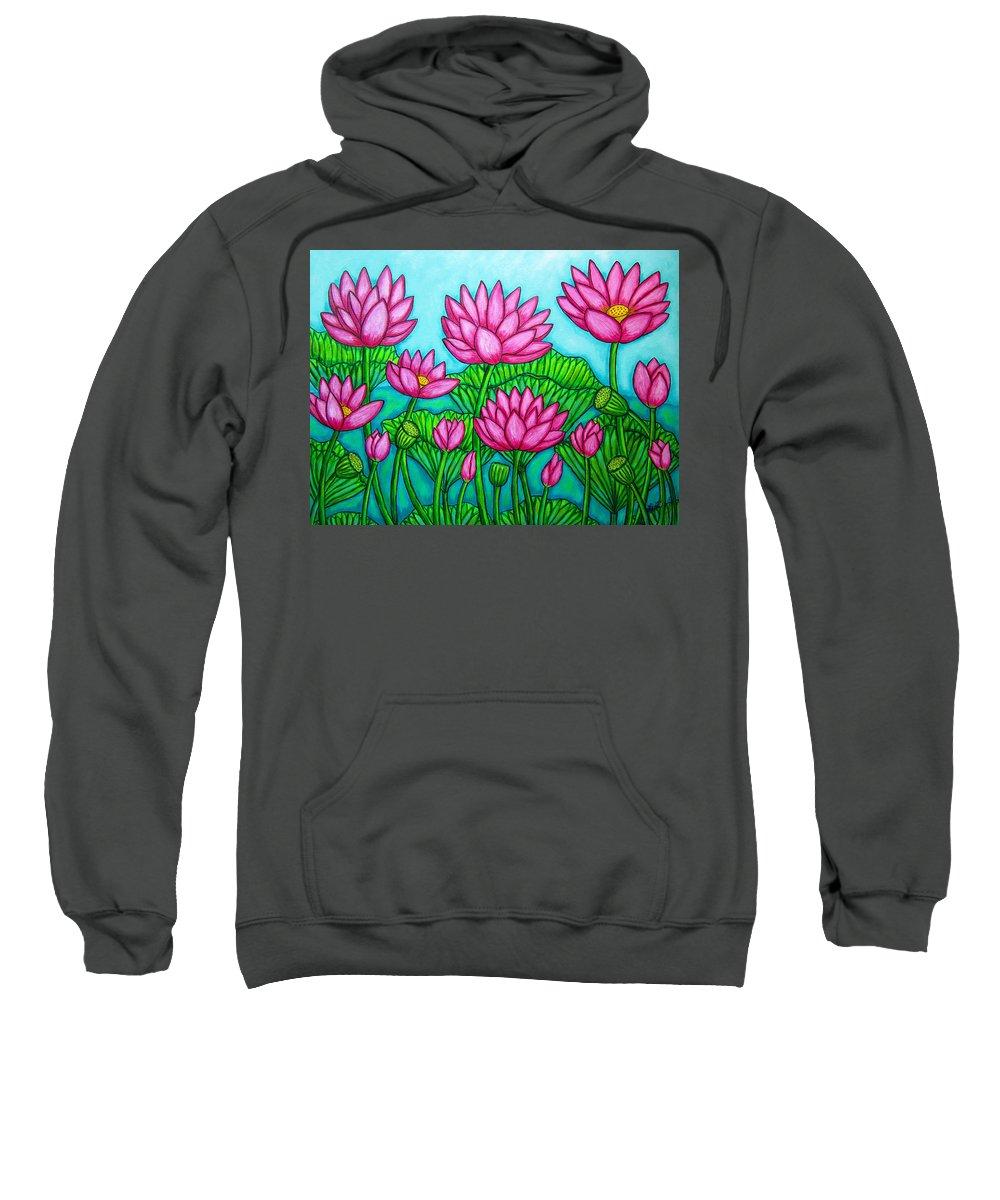 Lotus Sweatshirt featuring the painting Lotus Bliss II by Lisa Lorenz