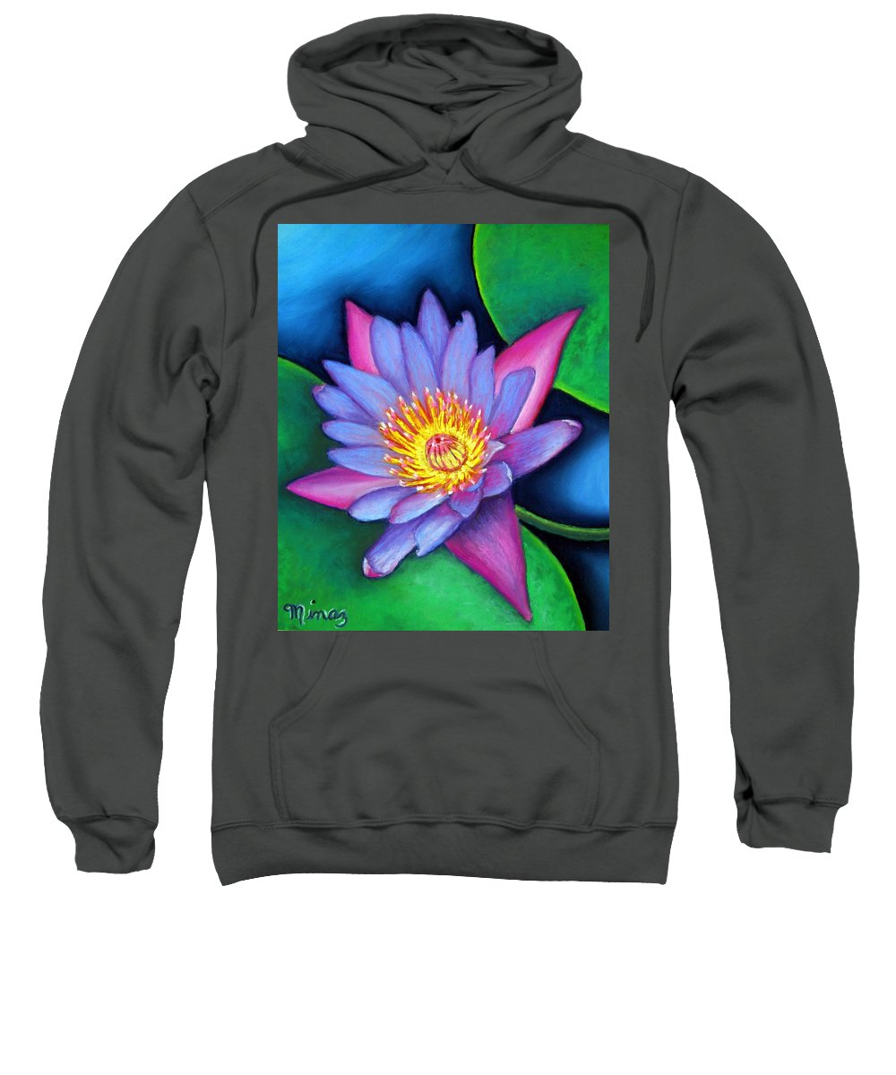Flower Sweatshirt featuring the painting Lotus Divine by Minaz Jantz