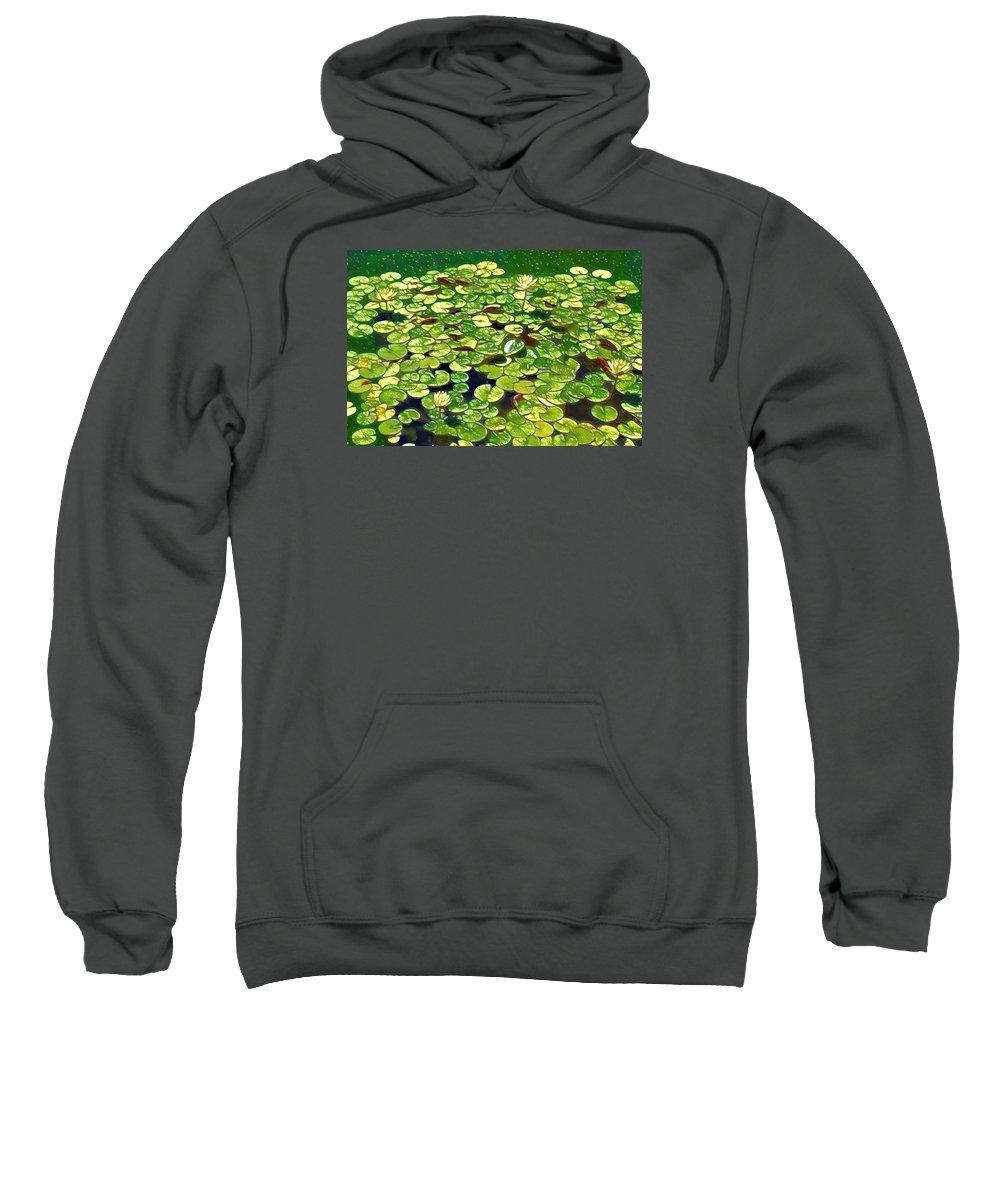 Lotus Flower Born In Water Sweatshirt featuring the painting Lotus Flower Born In Water by Jeelan Clark