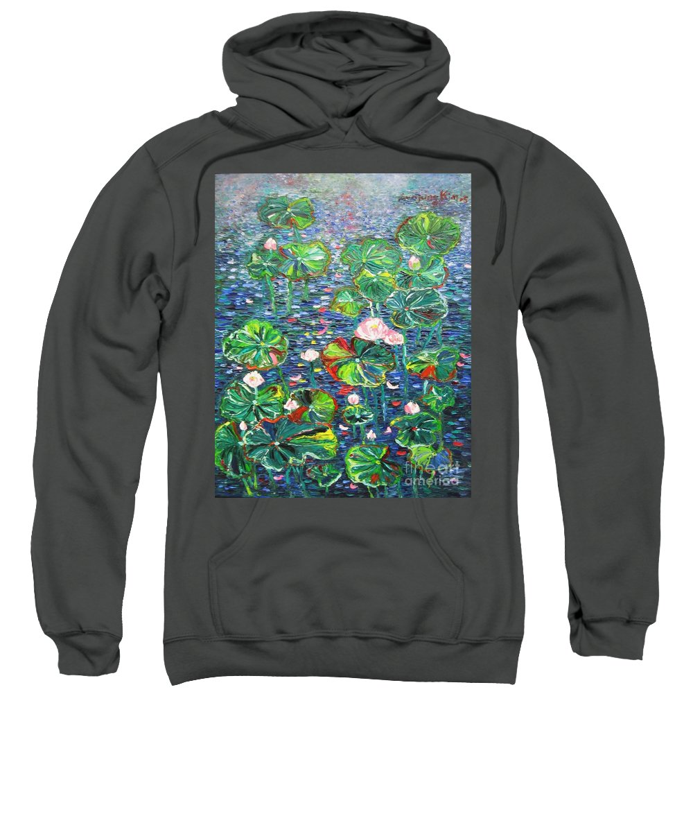 Water Lily Paintings Sweatshirt featuring the painting Lotus Flower Water Lily Lily Pads Painting by Seon-Jeong Kim