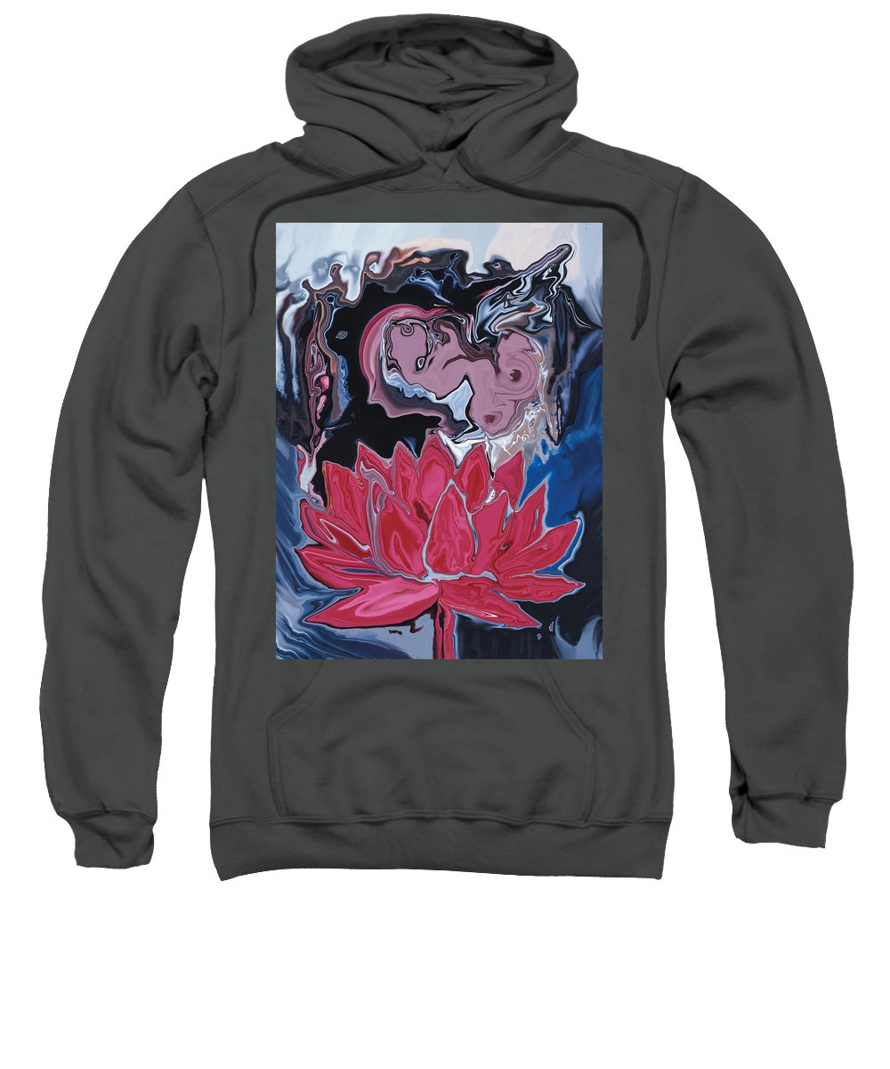 Angel Sweatshirt featuring the digital art Lotus Love by Rabi Khan