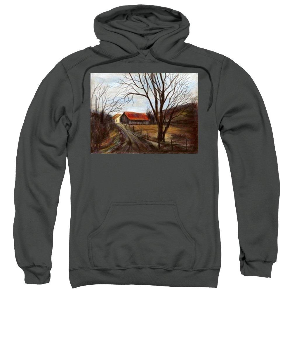 Barn Sweatshirt featuring the painting Louisa Kentucky Barn by Gail Kirtz