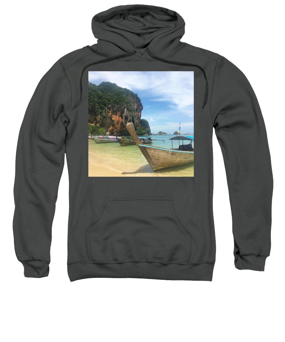 Thailand Sweatshirt featuring the photograph Lounging Longboats by Ell Wills