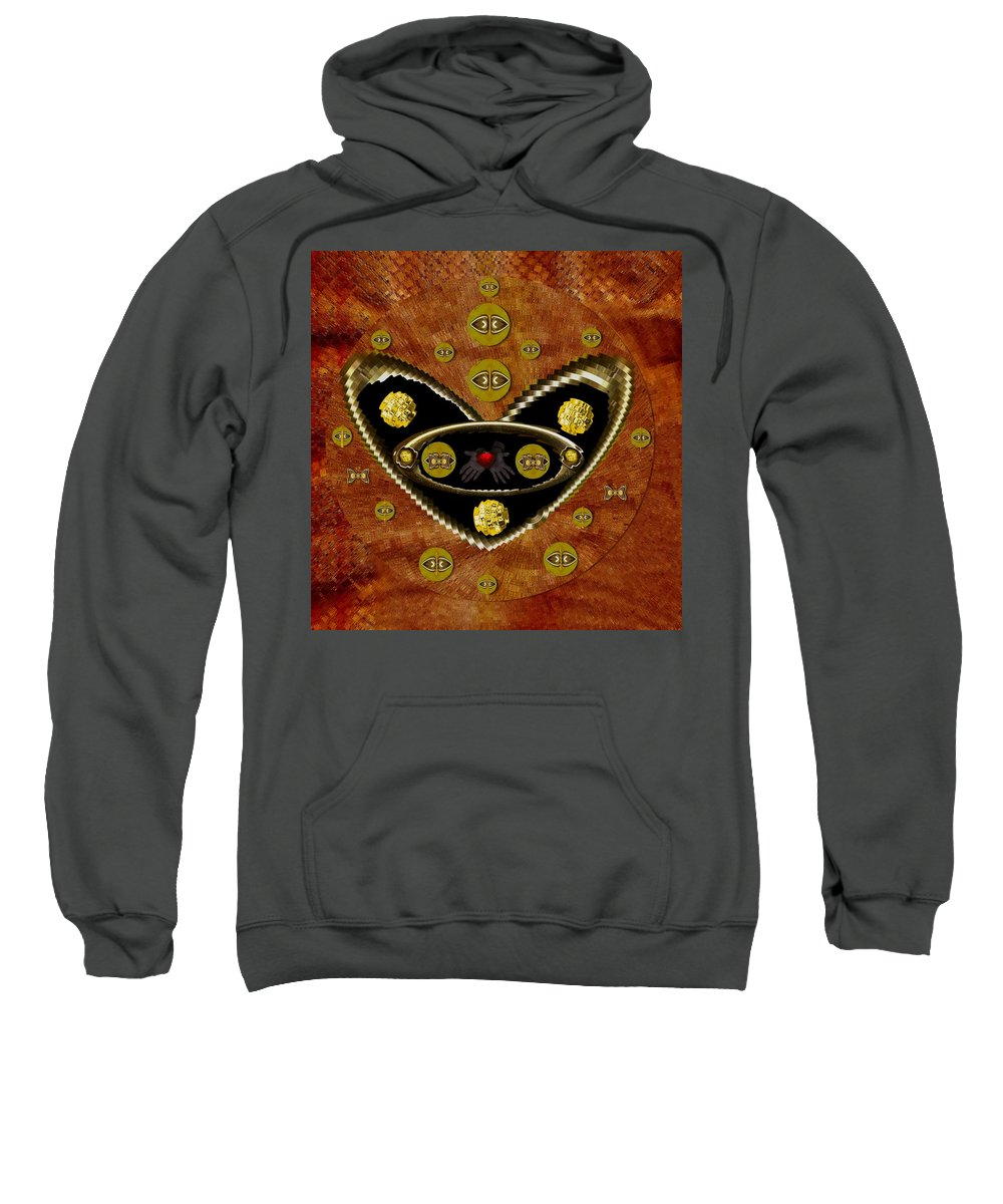 Hearts In Gold Sweatshirt featuring the mixed media Love Day And Night And In The Future by Pepita Selles