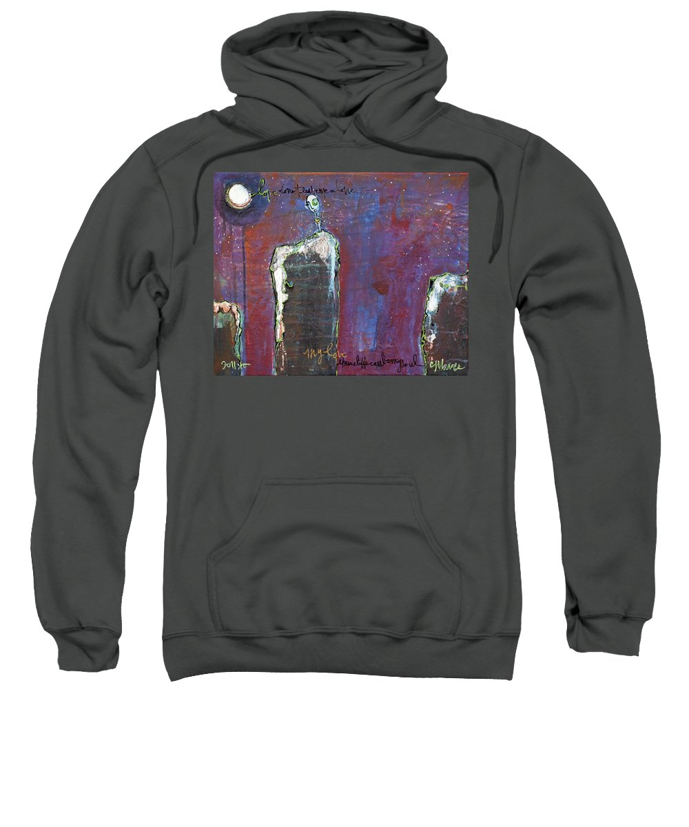 Lollipop Sweatshirt featuring the painting Love Do Not Leave Me Alone by Laurie Maves ART