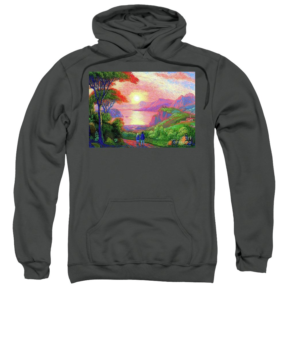 Sun Sweatshirt featuring the painting Love Is Sharing The Journey by Jane Small