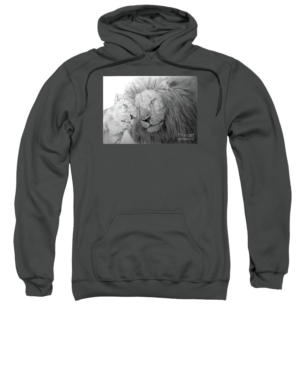 Lions Wild Cats Animals Drawing Pencil Paper Sweatshirt featuring the drawing Love by Nadi Sabirova