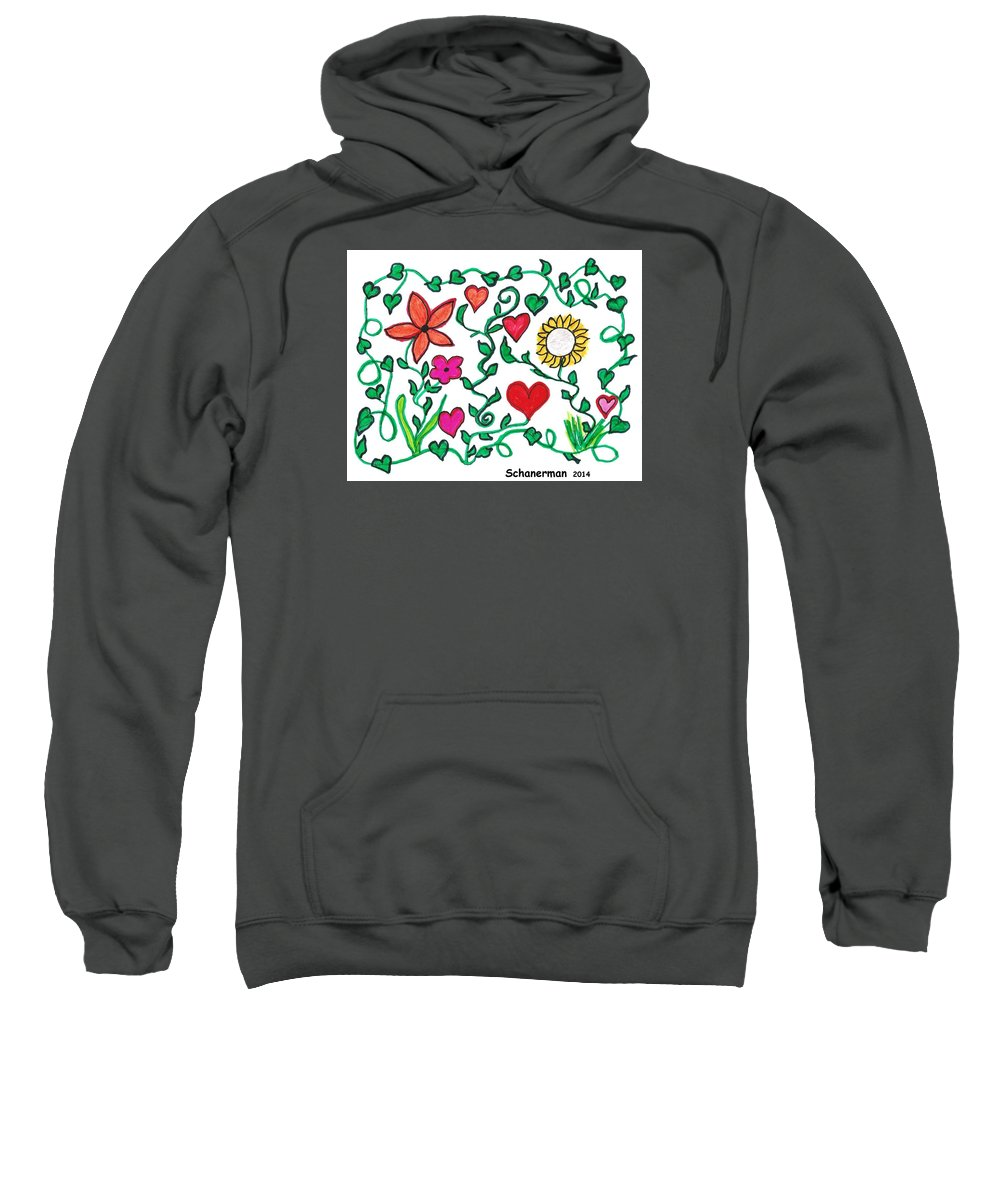 Doodle Art Sweatshirt featuring the drawing Love On The Vine by Susan Schanerman