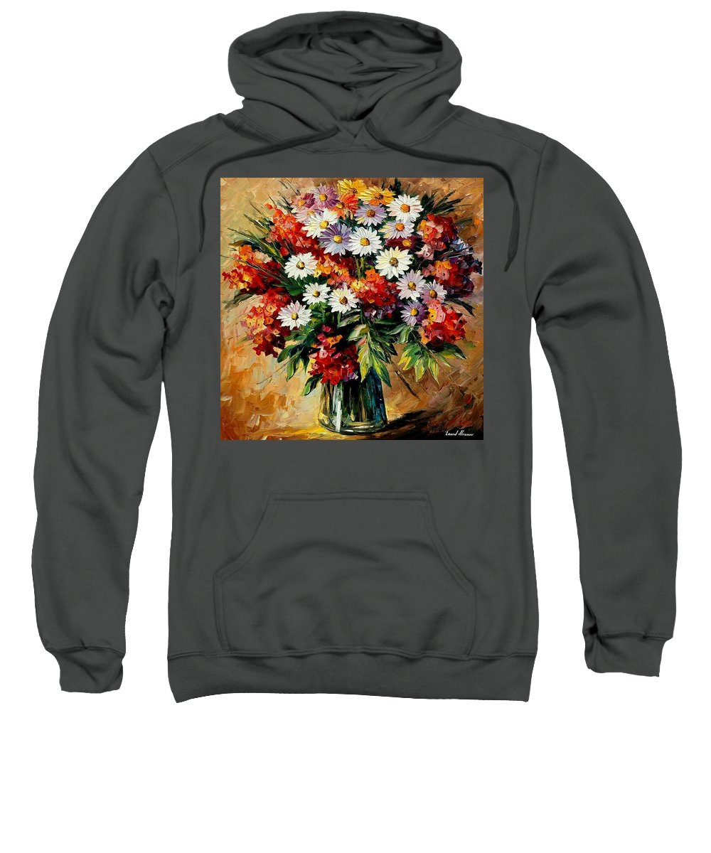Still Life Sweatshirt featuring the painting Lovely Bouquet by Leonid Afremov