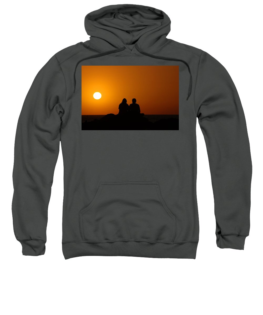 Sunset Sweatshirt featuring the photograph Lovers At Sunset by Susanne Van Hulst