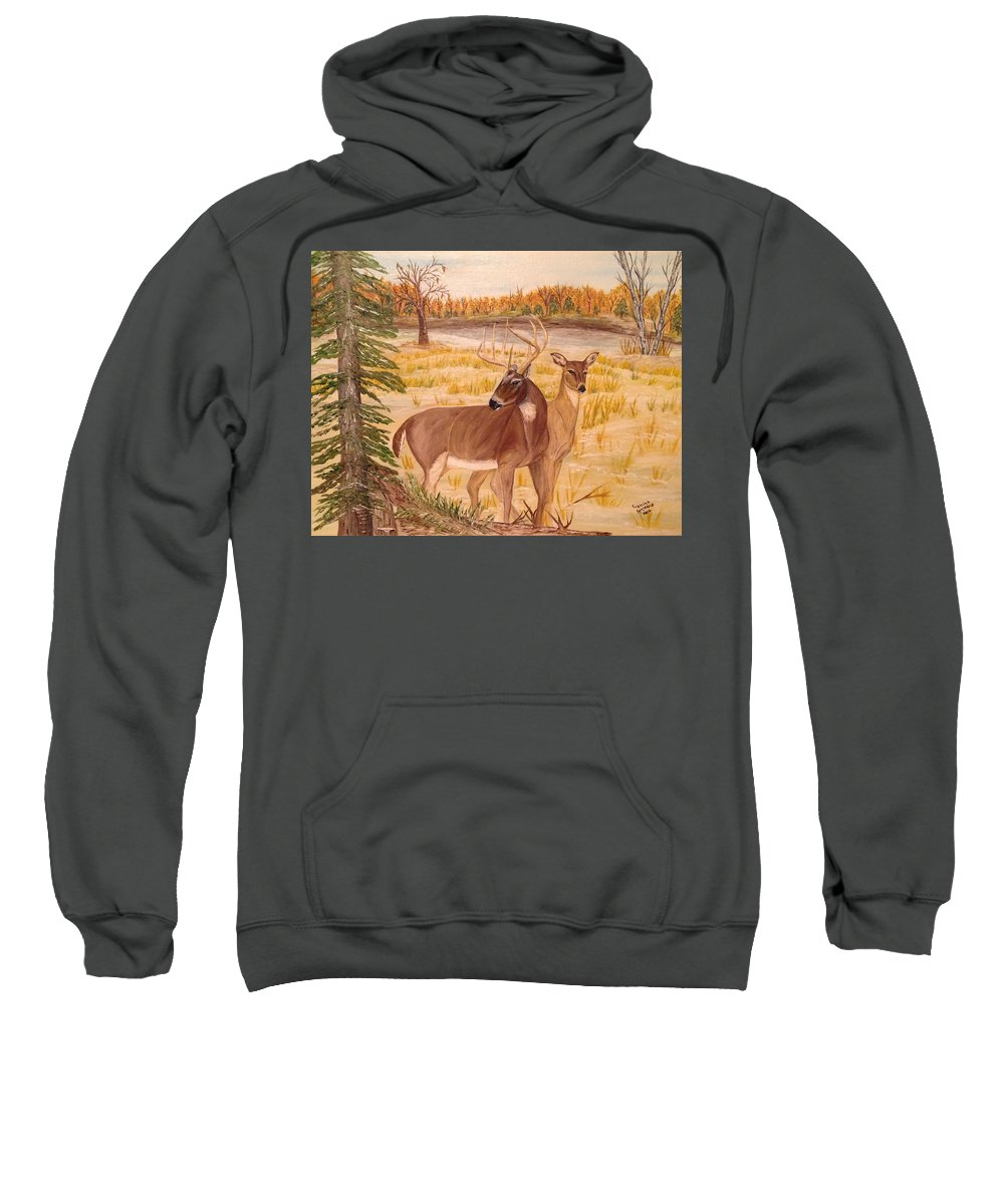 Whitetail Deer Sweatshirt featuring the painting Lovers by Francine Spagnuolo